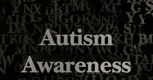 Autism Awareness - 3D rendered metallic typeset headline illustration. Can be used for an online banner ad or a print postcard Stock Image
