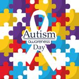 Autism awareness day care integration cooperation card. Vector illustration Royalty Free Stock Images