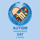 Autism awareness day design. With globe and hands Royalty Free Stock Photography