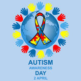 Autism awareness day design. With globe and ribbon Royalty Free Stock Image