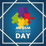 Autism awareness day invitation card puzzle pieces. Vector illustration vector illustration