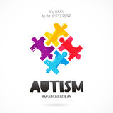 Autism Awareness Day. Multicolored puzzle. Autism Awareness Day. It`s okay to be different. Trend lettering. Multicolored puzzle of brush strokes. Healthcare stock illustration