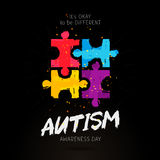 Autism Awareness Day. It`s okay to be different. Trend lettering. Multicolored puzzle of brush strokes. Healthcare concept. Vector illustration on a black Stock Photos