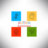 Autism awareness icon abstract illustration. Vector eps10 Royalty Free Stock Photos