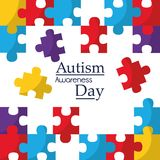 Autism awareness poster with puzzle pieces solidarity and support symbol. Vector illustration stock illustration