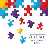 Autism awareness poster with puzzle pieces solidarity and support symbol. Vector illustration Stock Photos