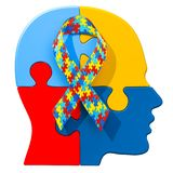 Autism awareness ribbon on the human head from puzzles. 3D rende. Autism awareness ribbon on the human head from puzzles. 3D Royalty Free Stock Photography