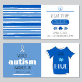 Autism awareness set of banners Royalty Free Stock Images