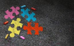 Autism Awareness Symbol. Concept and autistic development disorder as a symbol of a communication and social behavior psychology as a puzzle chalk drawing on vector illustration