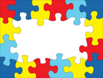 Autism Colored Puzzle Frame Illustration. A frame made out of autism awareness colored puzzle pieces. Room for copy. Vector EPS 10 available Royalty Free Stock Photo