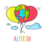 Autism concept with balloons. Autism awareness poster with colorful balloons. Balloon made of puzzle pieces as symbol of autism. Vector illustration stock illustration