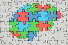 Autism concept, brain from colored puzzles, 3D rendering Royalty Free Stock Image