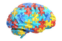 Autism concept with brain, 3D rendering. On white background Stock Image