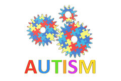 Autism concept with cogwheels, 3D Stock Photos