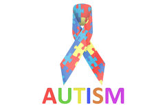 Autism concept with colored puzzles Royalty Free Stock Image