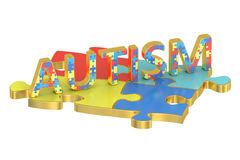 Autism concept with colored puzzles Stock Image