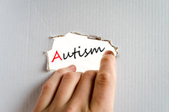 Autism Concept. Hand on the cardboard background autism concept Stock Photo