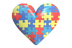 Autism concept with heart, 3D rendering Stock Image
