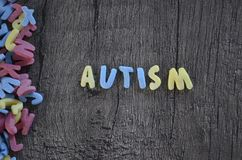 Autism diagnosis. Autism spelled in blue and yellow letters on wooden background Stock Image