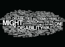 Autism A Difficult Developmental Disability Word Cloud Concept. Autism A Difficult Developmental Disability Text Background Word Cloud Concept Royalty Free Stock Photo