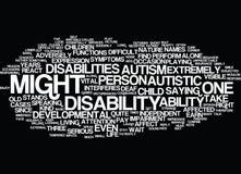 Autism A Difficult Developmental Disability Word Cloud Concept. Autism A Difficult Developmental Disability Text Background Word Cloud Concept royalty free illustration