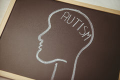 Autism drawn on blackboard with head. Shot in studio Royalty Free Stock Images