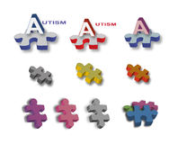 Autism full page of titles & bright puzzle pieces. To illustrate articles on autistic spectrum disorders such as Asperger's and Fragile X syndrom, or Royalty Free Stock Images