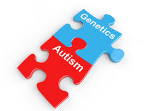 Autism and genetics puzzle link stock illustration