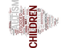 Autism And Its Generated Behavioral And Mental Impairments Word Cloud Concept. Autism And Its Generated Behavioral And Mental Impairments Text Background Word royalty free illustration