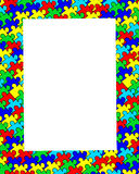 Autism jigsaw border frame. Autism puzzle jigsaw border frame vector illustration