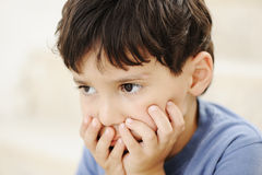Autism, kid looking far away Royalty Free Stock Photography