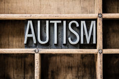 Autism Letterpress Type in Drawer. The word AUTISM written in vintage metal letterpress type sitting in a wooden drawer royalty free stock images