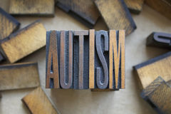 Autism Letterpress Type. The word AUTISM written in vintage wood letterpress type Stock Photography