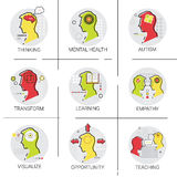 Autism Mental Health Brain Activity, People Feeling, Knowledge Learning Online Education Icon Set Royalty Free Stock Photography