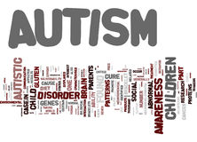 Autism The Mystery Word Cloud Concept. Autism The Mystery Text Background Word Cloud Concept Stock Photo