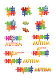 Autism puzzle pieces and titles Full page. Full page of colorful puzzle pieces and designs with titles to illustrate articles related to Autistic spectrum Stock Photography