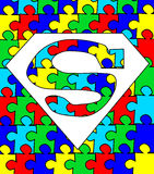 Autism puzzle superman. Autism awareness superman Stock Image