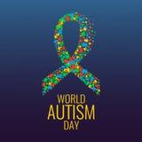 Autism ribbon awareness poster Stock Photo