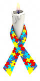 Autism ribbon candle Stock Photos