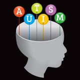 Autism Silhouette. A silhouette of a person with the letters A-U-T-I-S-M coming out of the head. EPS 10. File contains transparencies and a gradient mesh stock illustration