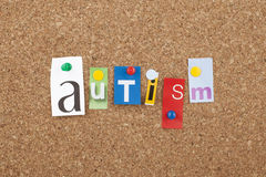 Autism. Single letters on cork Stock Photo
