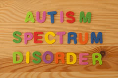 Autism Spectrum Disorder. Colourful foam letters spelling out Autism spectrum disorder on a wooden background Royalty Free Stock Photography