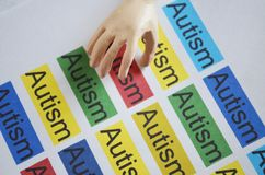 Word AUTISM , close up. Autism word on  paper texture with artificial human hand Royalty Free Stock Photography