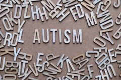 Autism concept, word spelled out in wooden letters. Autism word spelled out on textured background royalty free stock photos