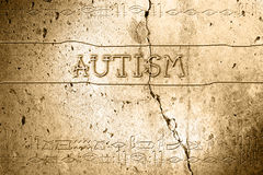 Autism. Word autism on wall with egyptian alphabet made in 2d software Royalty Free Stock Photography