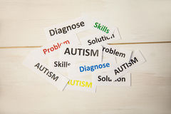 Autism words on wooden table. Shot in studio Royalty Free Stock Image