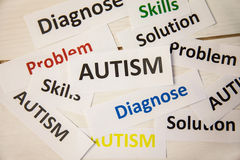 Autism words on wooden table Stock Image