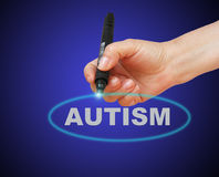 Autism. Writing word  Autism with marker on gradient background made in 2d software Stock Images
