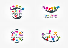 Autismusbewusstseins-Logodesign Lizenzfreie Stockfotografie