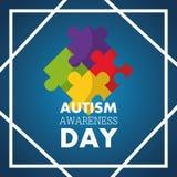 Autismusbewusstseinstageseinladungskarten-Puzzlespielstücke vektor abbildung